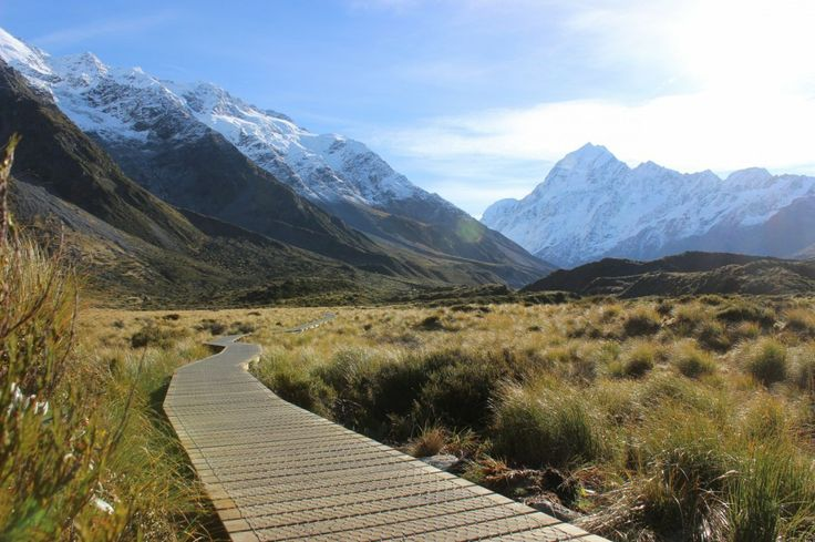 Hooker Valley Walk. #nzmustdo  Take the 3 hour return track from the Hooker Valley DOC campground to the Hooker Lake at the base of Mount Cook. Incredible scenery, swing bridges and an easy walk for all fitness levels.