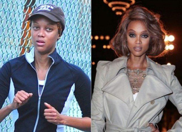Tyra Banks Before and After Makeup Look