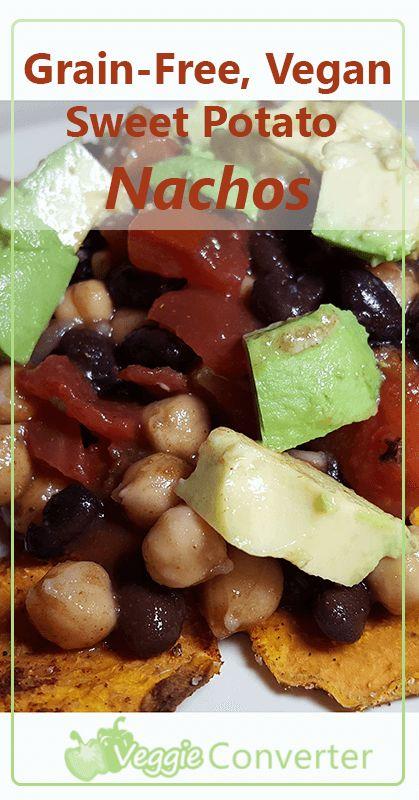 Sweet Potato Nachos   @VeggieConverter #grainfree #vegan