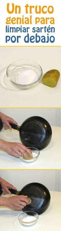 Un truco genial para limpiar sart n por debajo sartenes - Trucos para limpiar el bano ...