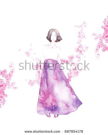Spring girl - illustration. Watercolor background. Colorful abstract texture. Watercolor girl with flowers. Mother's greeting card. Valentine's day background. @knyshksenya #illustration #illustrator #ksenyaknysh #watercolor #girl #flowers #nature #illustration #art