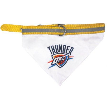 Pets First NBA Oklahoma Thunder Pet Bandana, 3 Sizes Available. With Collar