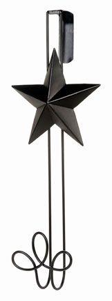 """Black Wire Door Wreath Hanger w/ 5.5 Tin Star 15"""""""
