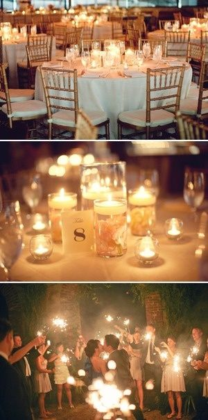 The candle centerpieces are pretty! We agree that we'd really like to play it up with light at the reception and this is probably inexpensive.