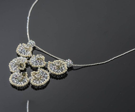 handbeaded short wedding  engagement necklace with by TreGrazie