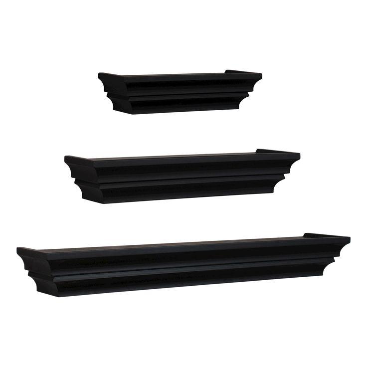 Madison Decorative Wall Ledge Shelf Set of 3 - Black