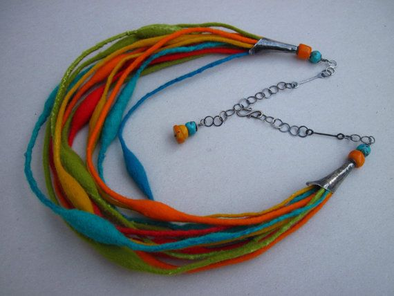 Handmade Multicolor felted necklace with handmade sterling silver chain