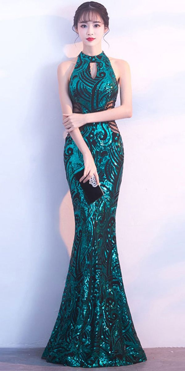 In Stock Glamorous Sequins Lace High Collar Neckline Floor-length Mermaid  Evening Dress With Beadings 3c0915ade85a
