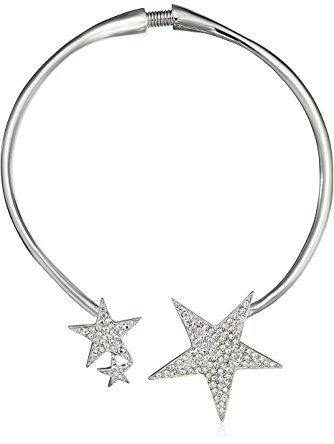 Kenneth Jay Lane Rhodium and Crystal Star Collar Necklace ❤ Kenneth Jay Lane