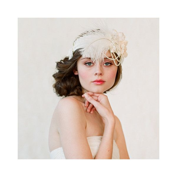 Flapper inspired bridal headband - Style #148   Headbands   Twigs &... ($320) ❤ liked on Polyvore featuring accessories, hair accessories, bride hair accessories, gatsby headband, gatsby hair accessories, bridal hairband and head wrap hair accessories