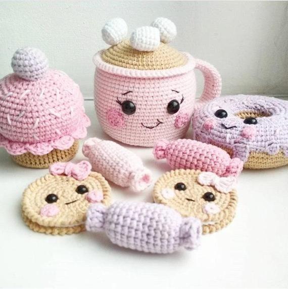 Сrochet sweets Crochet food Play food Crochet cakes Crochet yummy Amigurumi donuts Amigurumi yummy Donuts Cakes Food Play food