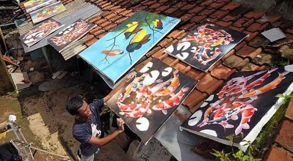 Jelekong Village Art Painting, Bandung, Indonesia.