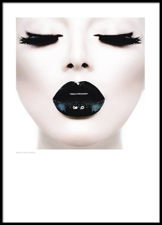 Posters met foto, zwarte glanzende lippen