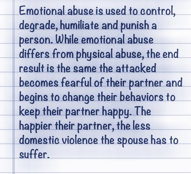 Emotional Abuse is the key factor in parental alienation.  It is the tool most revengful parents use to turn a child against a parent. An emotional warfare is launched & our children are defenseless & vulnerable.  Please support court reform & parental alienation support groups.