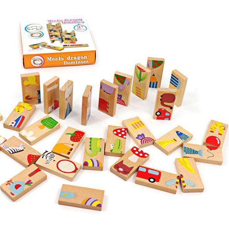 Unisex Bayi Mainan 28 PCS Hewan Blok Domino Mainan Kayu Aman Domino Pendidikan Mainan Hadiah untuk Anak Di Atas 3 Tahun FCI #