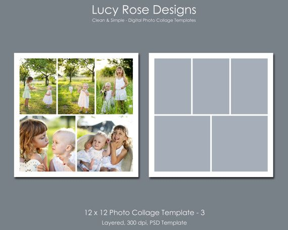 12 x 12 Photo Collage Templates Set 1 by LucyRoseDesigns on Etsy