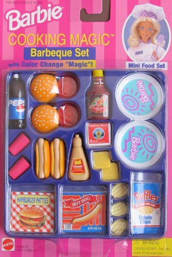 "Barbie COOKING MAGIC BARBEQUE Set - BARBECUE Mini Food Set w COLOR CHANGE ""MAGIC""! (1997 Arcotoys, Mattel) Barbie"