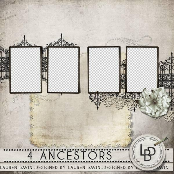 Four Ancestors - Instant Page, just add your photos and journaling. Elegant and suitable for masculine or feminine pages, this instant page allows you to display photos of 4 ancestors and still allows space for a title and story.