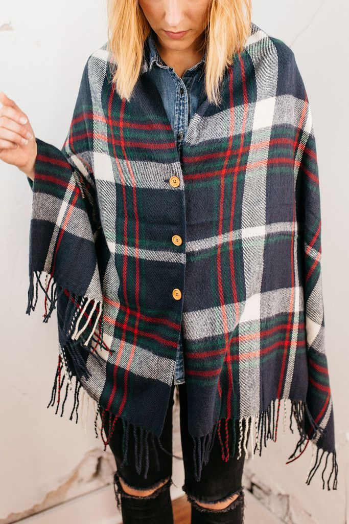 The plaid I'll get behind for your closet. Button-Down Plaid Poncho