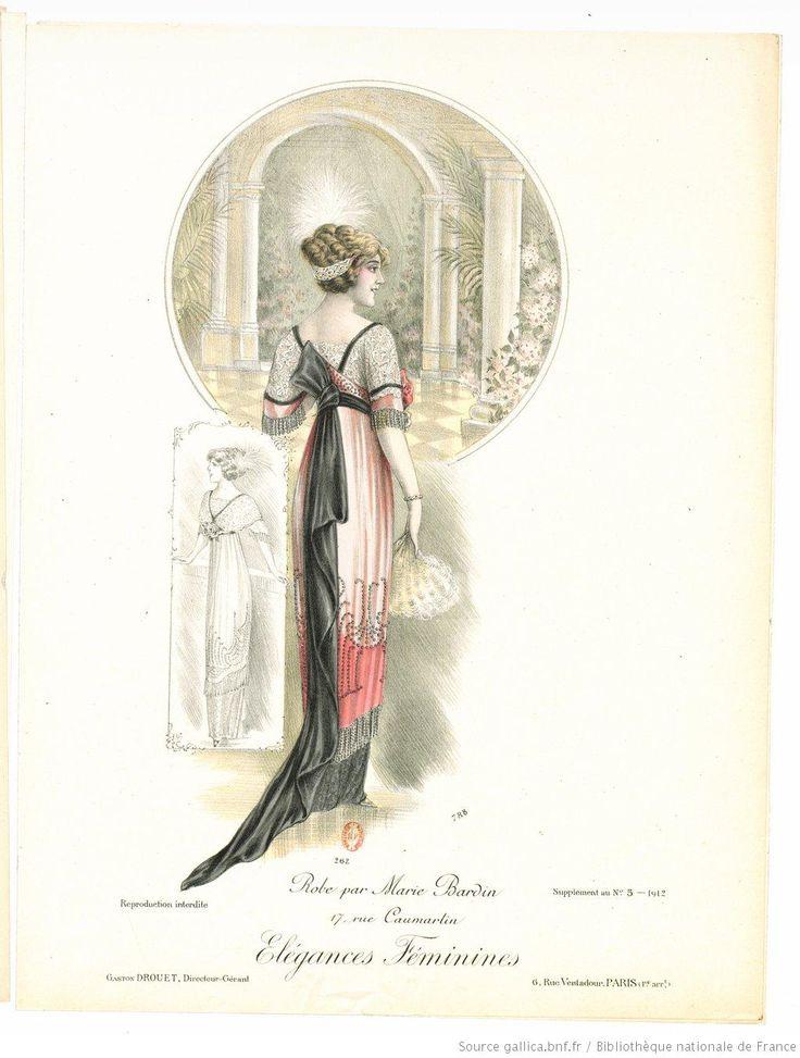 Von den weiblichen Elegances. Monatszeitschrift der Pariser Haute Couture 1912. Kleid von Marie Bardin