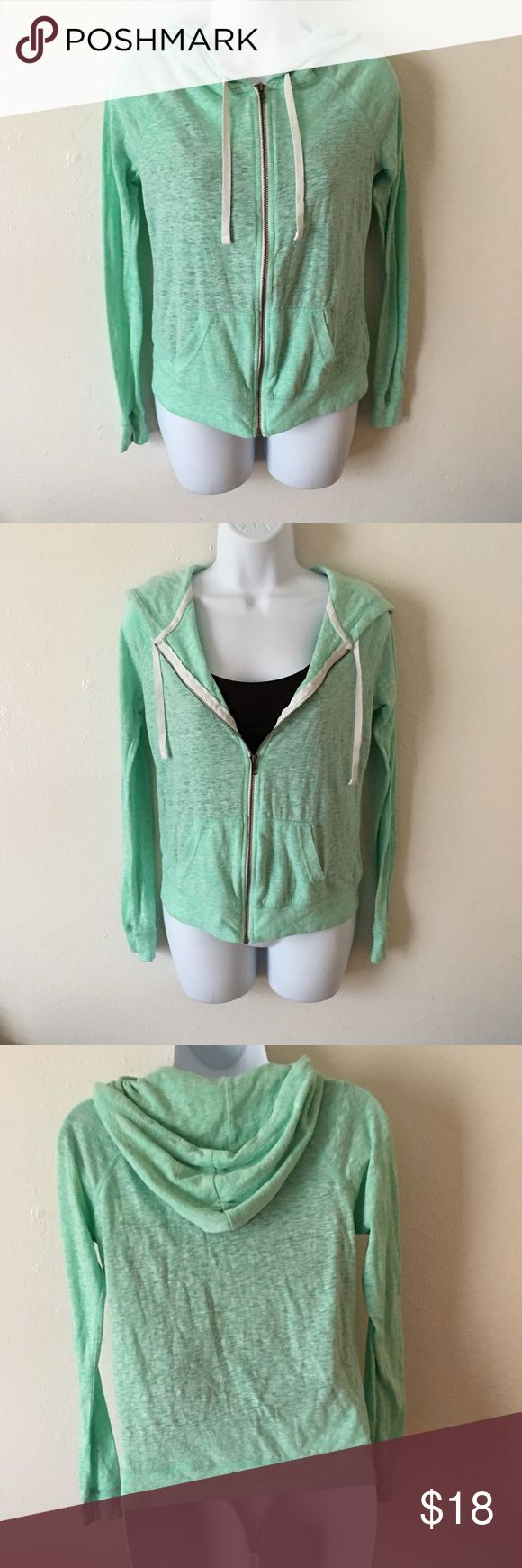 ZINE Thin Hoodie Jacket Super cute, thin, green hoodie jacket. In good used condition. Normal signs of wear, no visible damage. Zine Clothing Tops Sweatshirts & Hoodies