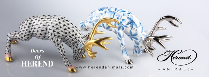 Herend Deer figurines are in many forms. These are painted with nonfigurative motifs. Left is the Vieux Herend, one of the most antique Herend painting style. The other is the ZOVA Platinum. Both is on light base, however, one is the dark, the other represents the light.
