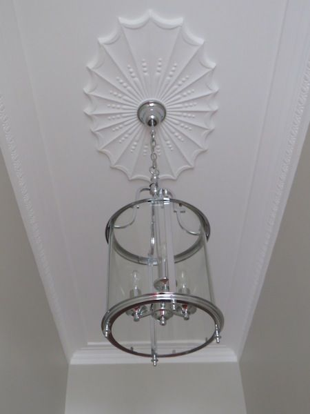 Penny shares all the before and after photos of her beautiful arched hallway makeover. Pretty Lantern lighting for the hallway. Art Deco Ceiling Rose.