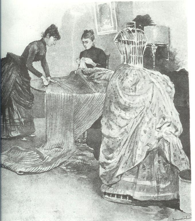 taller de costura , confeccionando un polisón
