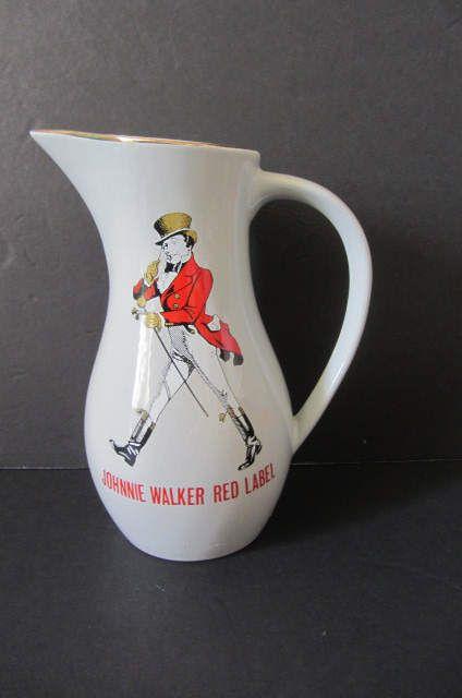Vintage Bar water jug, Johnnie Walker Jug, Whisky water jug, Johnnie Walker red label, whiskey advertising, bar decor, made in England by lovesknitting on Etsy