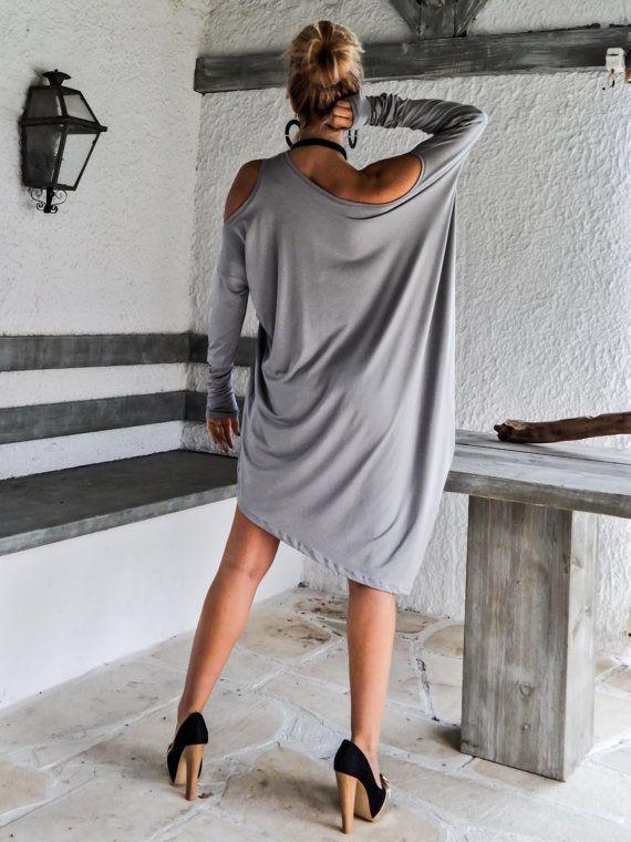 Légère robe asymétrique gris - Blouse - Tunique / robe / asymétrique Plus robe robe-chemisier-tunique / surdimensionnés de taille grande taille / #35064