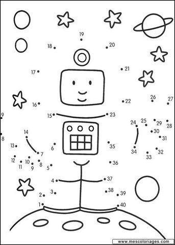 astronaut, Print uit en verbind de cijfers