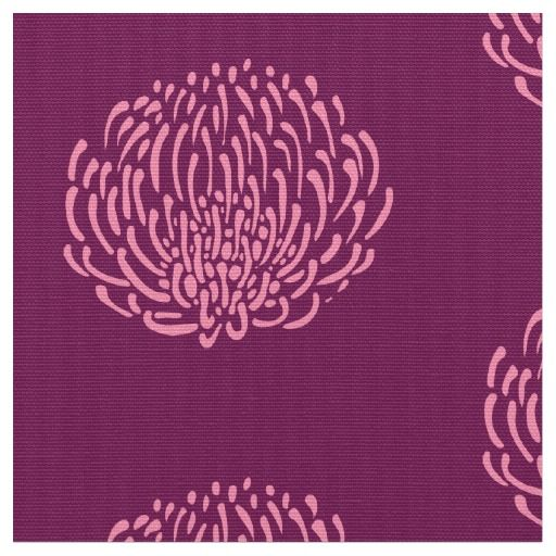 Protea flower print: purple, pink fabric