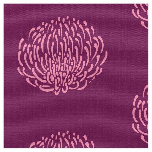 Protea flower print: purple, pink fabric
