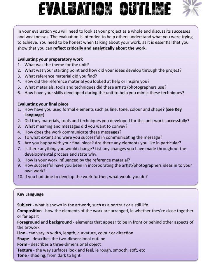 Project Evaluation Template - TALLIS GCSE PHOTOGRAPHY