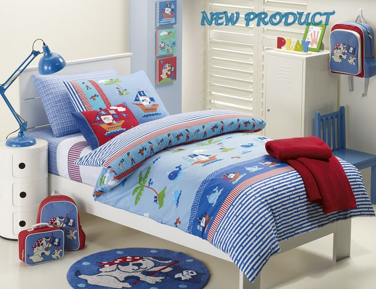 'Ahoy There' Boys bedlinen range featuring pirates and sea exploring motifs... from pilbeam.com.au