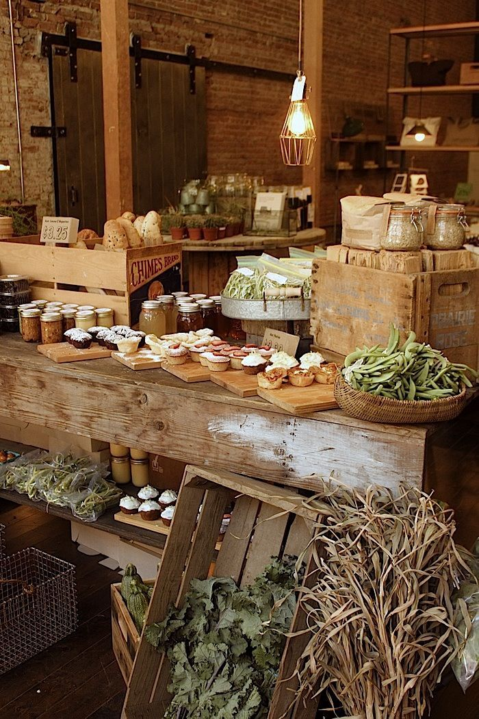 Great example of landscaping for effective visual merchandising | Retail Design | Rustic | Eclectic | Old Faithful Farmers Market | Victory Gardens - Grow what you eat!
