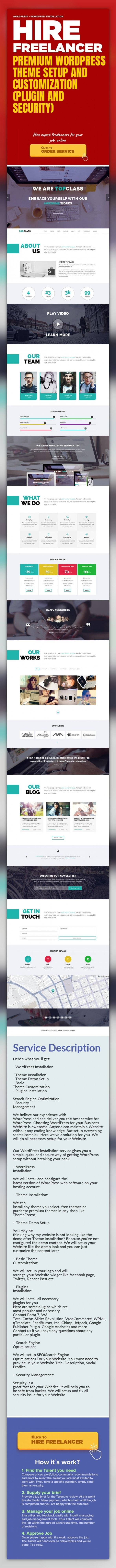 Premium WordPress Theme Setup and Customization (Plugin and Security) WordPress, WordPress Installation   Here's what you'll get:    - WordPress Installation   - Theme Installation   - Theme Demo Setup   - Basic Theme Customization   - Plugins Installation   - Search Engine Optimization   - Security Management    We believe our experience with WordPress and can deliver you the best service for Wor...