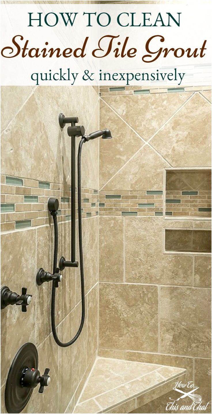 A great inexpensive way to clean tile grout, even if it is stained!  Chemical and chemical free versions.