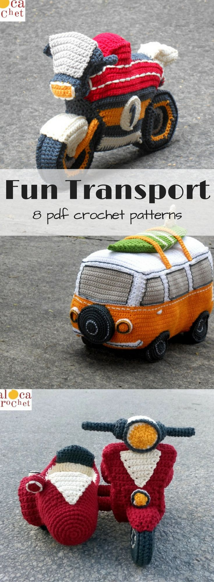 8 different car, motorcycle, & trailer amigurumi crochet patterns! How unique are these?! #etsy #ad #toy
