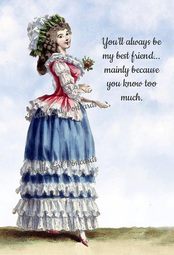 4 x 6 Glossy Postcard 18th Century Fashion Card We/'ll Do Lunch Friendship Humorous Postcard Have Your People Call My People..