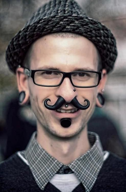 Mustache Stretched Septum Gauges Lip Nose Glasses