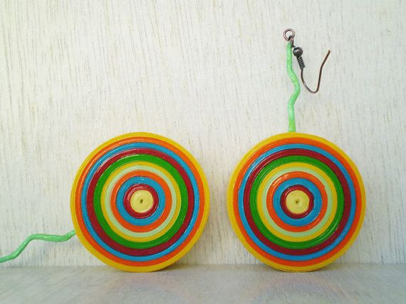 Round Colorful Target Dangle Earrings Eco by LeftysHandcrafts