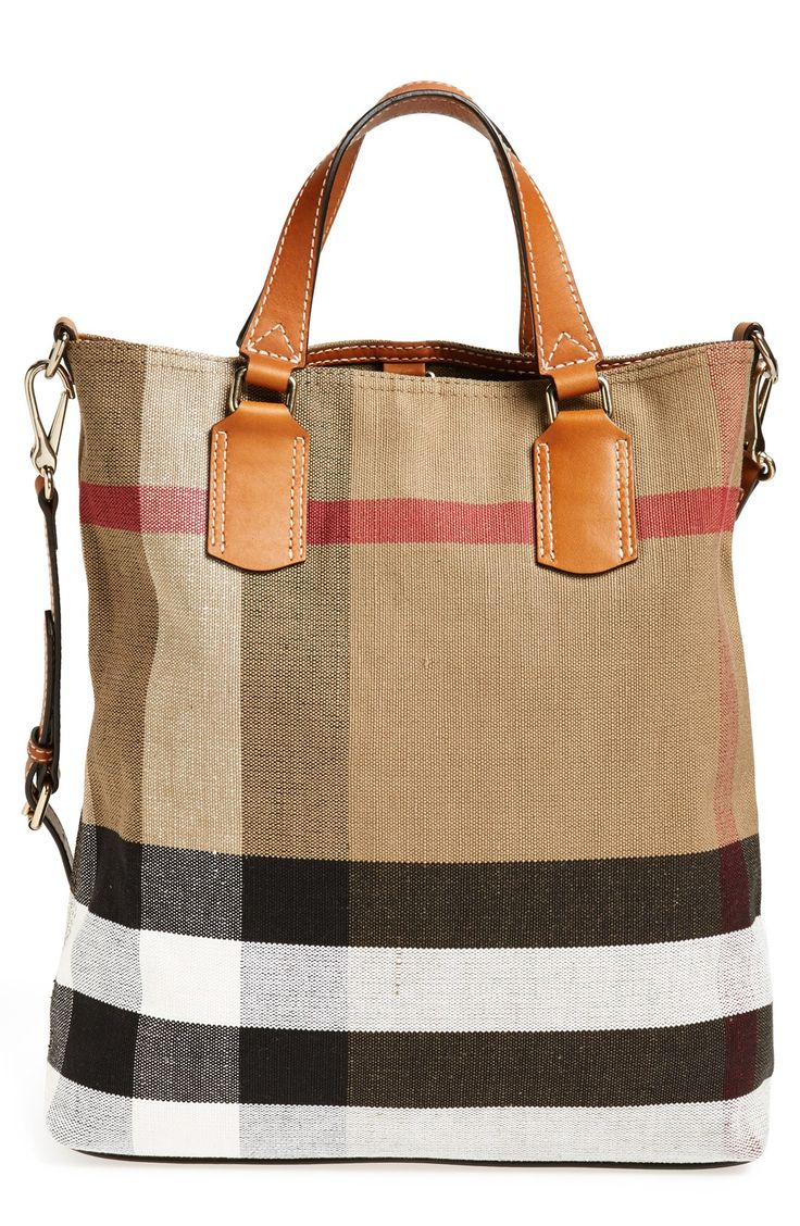 Such a great travel bag   Burberry check print bucket tote