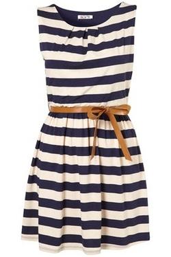 Navy Stripes & Brown Belt
