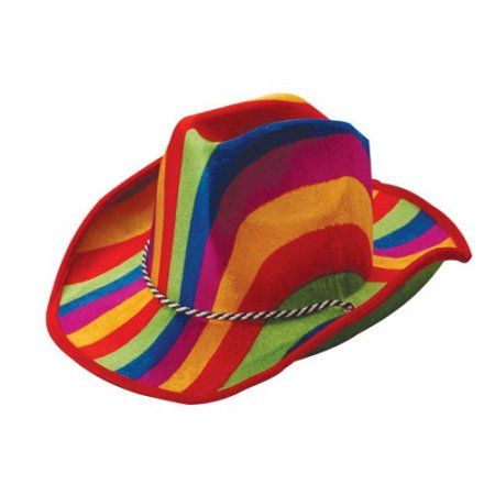Rainbow Stripe Cowboy Hat, Sold By 12 Pieces