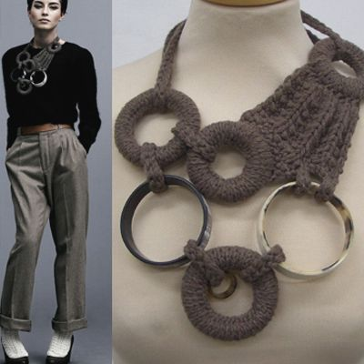 Ruth Cross handmade, mixed media knitted necklace - statement jewellery