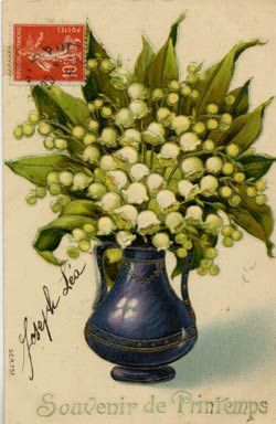 """Green and white """"muguet des bois"""" (lily of the valley), in a blue vase. - French postcard"""