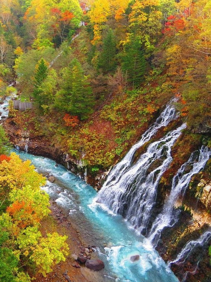 Shirahige Waterfall & Blue River, Biei, Hokkaido, Japan #waterfalls
