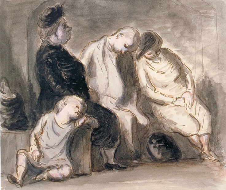 """Edward Ardizzone Shelter Group with Sleeping Child 1940 (watercolour on paper).  From """"Art from the Second World War."""""""