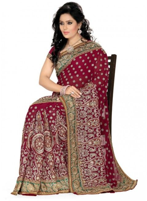 Unique Maroon Color Faux Georgette Based Embroidered #Saree